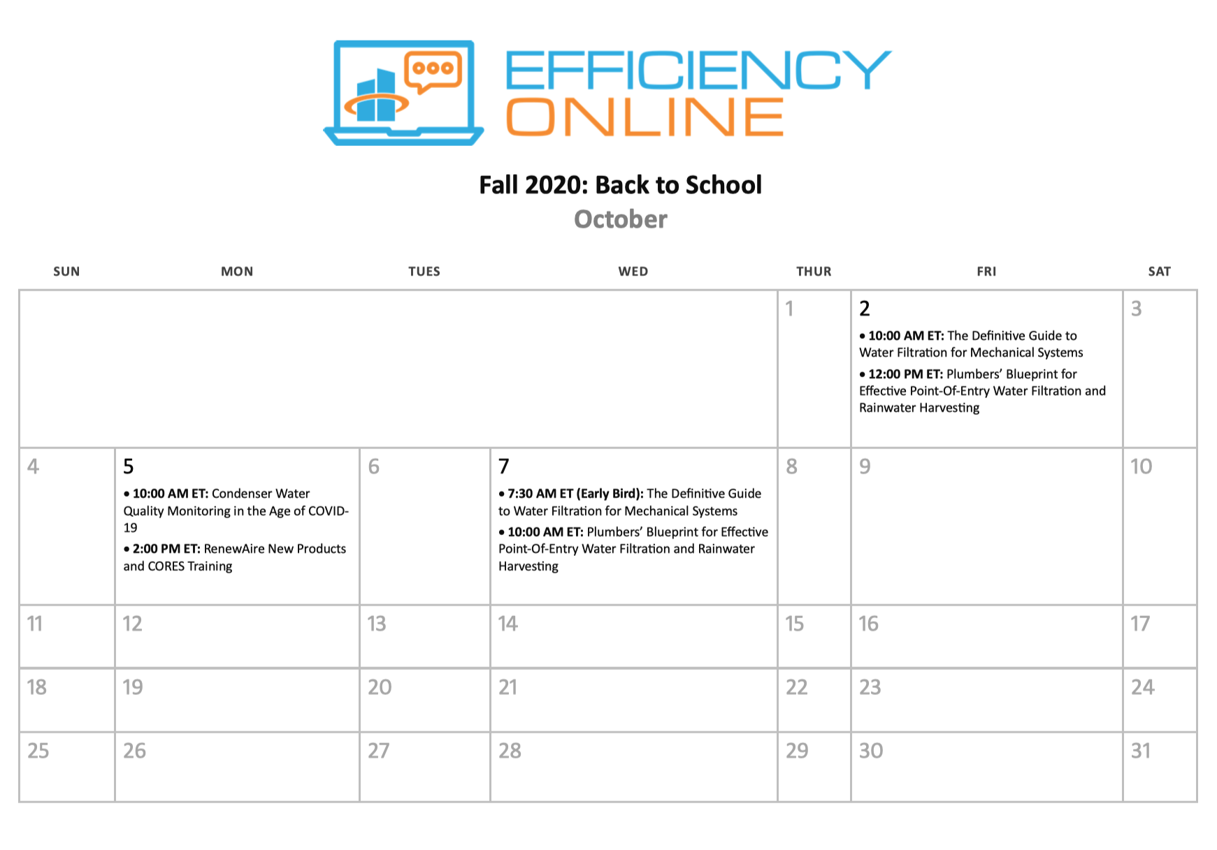 Back to School Calendar Oct 2020